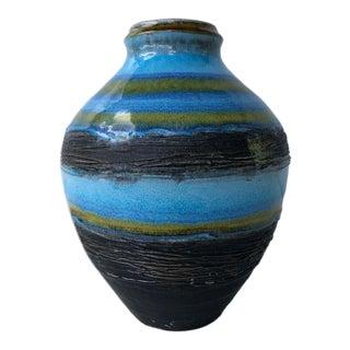 1970's Vintage Glazed West Germany Pottery Vase For Sale