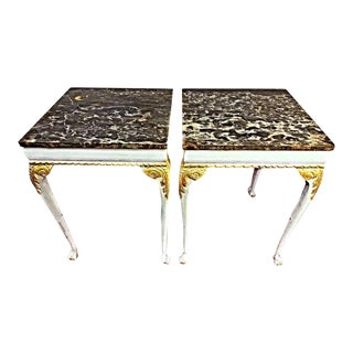 White & Gold Marble Top End Tables - A Pair For Sale