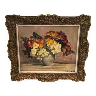 """Early 20th Century English """"Primulas"""" Oil Painting For Sale"""