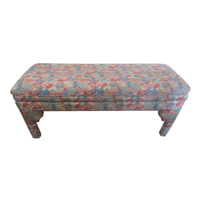 Vintage moroccan style upholstered bench chairish Moroccan bench