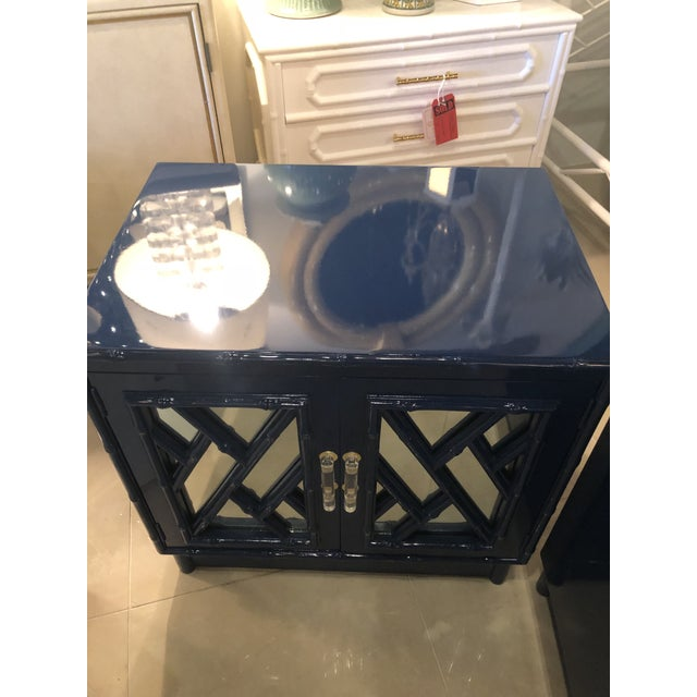 Vintage Chinese Chippendale Navy Lacquered Mirror Lucite Brass Nightstands Chests -A Pair For Sale - Image 10 of 13