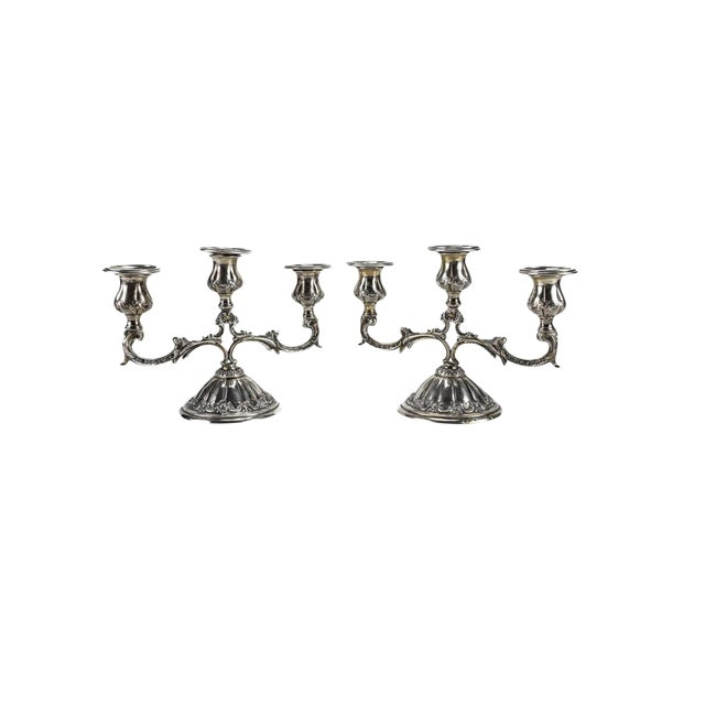 Pair Continental 800 Silver 3-Light Candelabras, Hand Chased Floral Swags - Image 1 of 6