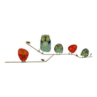1960s Vintage Curtis Jere Metal Owl Family Signed Enamel Sculpture For Sale