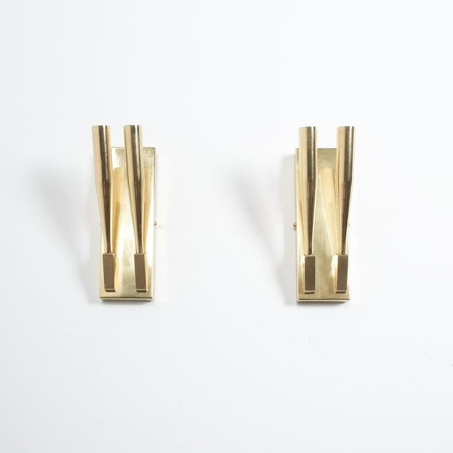 Gold Brass Wall Lights Sconces Attributed Gio Ponti Midcentury For Sale - Image 8 of 11