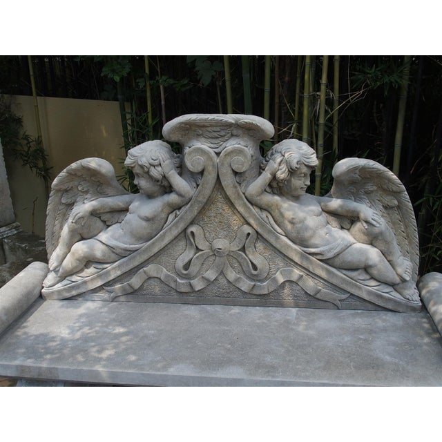 Winged Cherubs Carved Limestone Garden Bench from Italy - Image 10 of 11