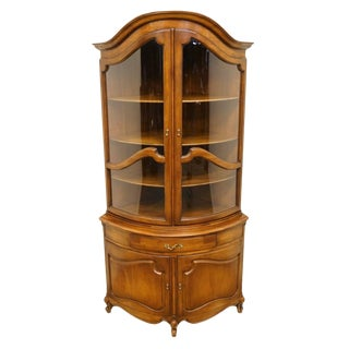 Union International French Regency Solid Cherry Corner Curio Cabinet For Sale