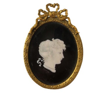 Late 19th Century Antique Silk French Bronze Framed Silhouette Painting For Sale