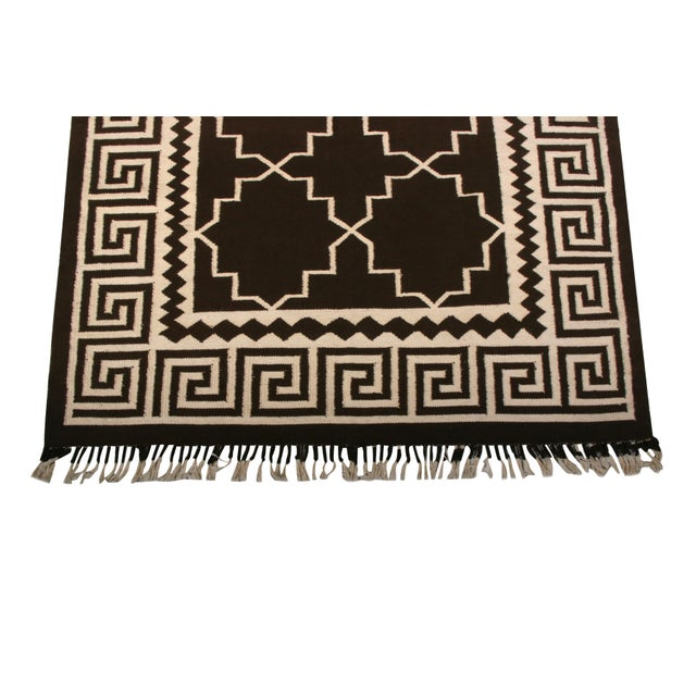 Contemporary Contemporary Flat Weave Rug Brown and Beige Transitional Kilim Rug For Sale - Image 3 of 6