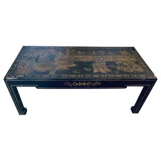 Antique Chinoiserie and Ebony Decorated Coffee Table For Sale