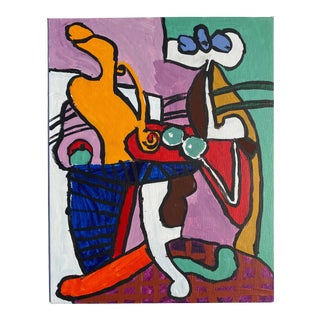 Naive Abstracted Still Life Homage to Picasso Painting For Sale