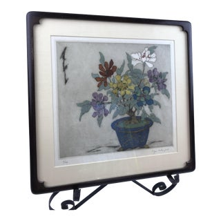 Framed Elyse Ashe Lord Chinoiserie Hand Colored Jade Tree Engraving For Sale