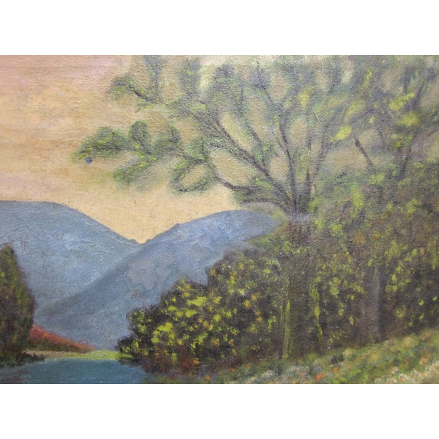 19th Century Antique Outsider Art Rural Landscape Oil on Canvas Painting For Sale In Chicago - Image 6 of 11