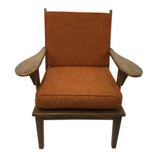 Mid-Century Orange Colonial Style Paddle Arm Chair