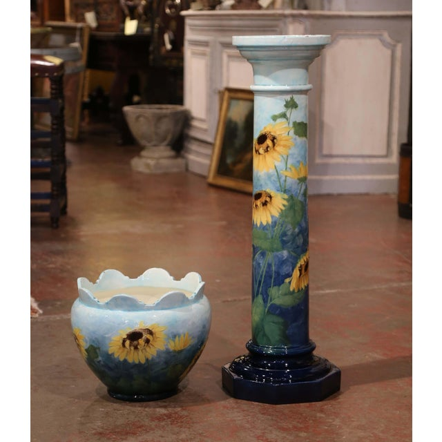 19th Century French Hand Painted Ceramic Planter and Stand Signed D. Massier For Sale In Dallas - Image 6 of 13