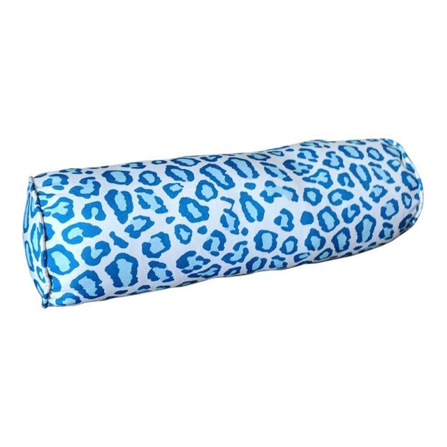 Blue Leopard Print Bolster Pillow For Sale