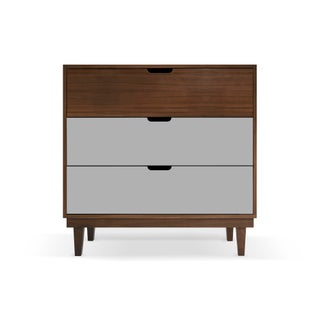 Kabano Modern Kids 3-Drawer Dresser in Walnut With Gray Finish Preview