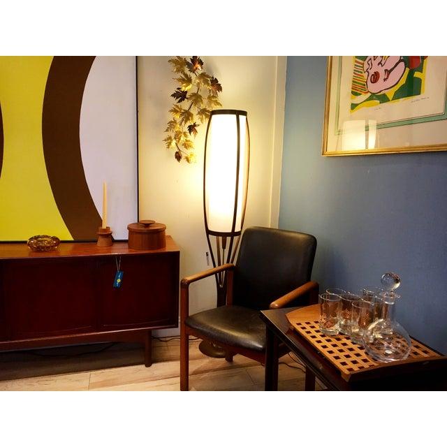 Animal Skin Danish Modern Teak & Distressed Leather Arm Chair For Sale - Image 7 of 7