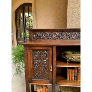Antique English Carved Oak Bookcase Bookshelf Display Shelf Cabinet Arts Crafts Preview