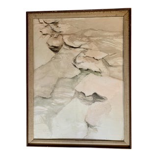 """1980s Katherine Page Porter """"Rock Patterns"""" Signed Watercolor Painting For Sale"""