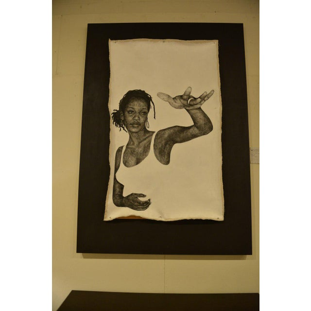 """Original artwork titled """"Woman,"""" by Kellie Kaori Vernon. Painted on canvas. Attached to custom black wood frame..."""