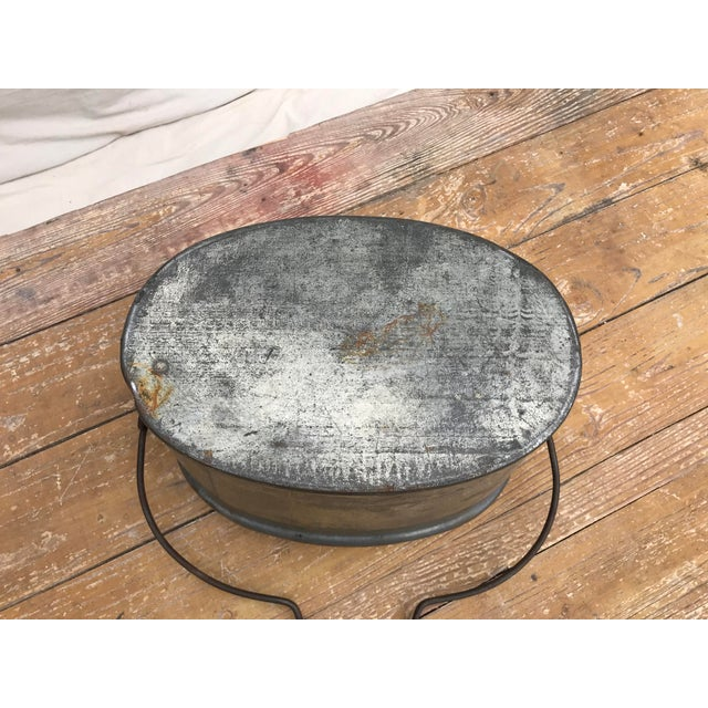 Vintage Oval Tin Bucket With Iron Handle For Sale - Image 6 of 8