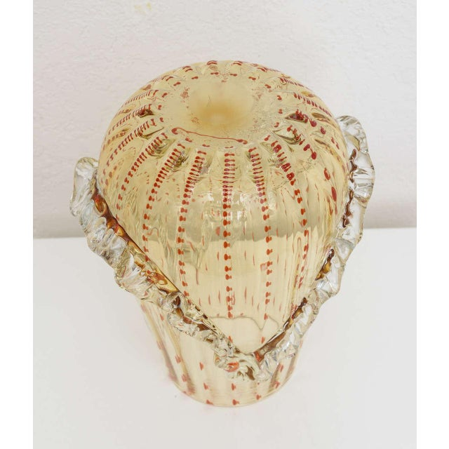 Barovier & Toso Barovier & Toso Amber and Dark Orange Colored Murano Glass Vase For Sale - Image 4 of 13