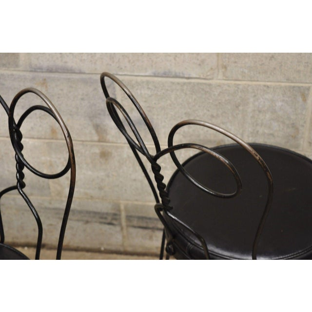 Metal Antique Twisted Heart Back Wrought Iron Ice Cream Parlor Dining Chairs - Set of 4 For Sale - Image 7 of 11