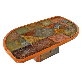Paul Kingma Style Brutalist Pedestal Coffee Table by Slate Craft Ltd. S. Africa For Sale