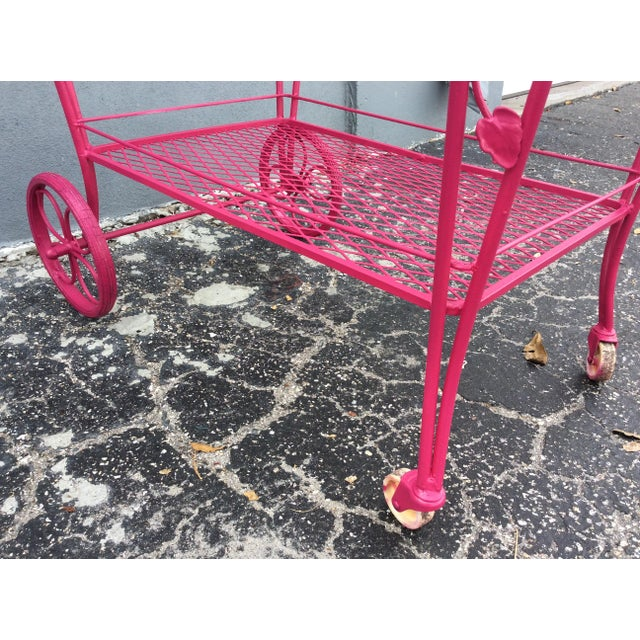 Vintage Mid Century Patio Bar Cart For Sale In Miami - Image 6 of 9