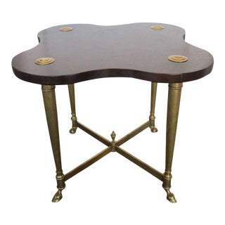 Hollywood Regency Brass and Burl Table For Sale