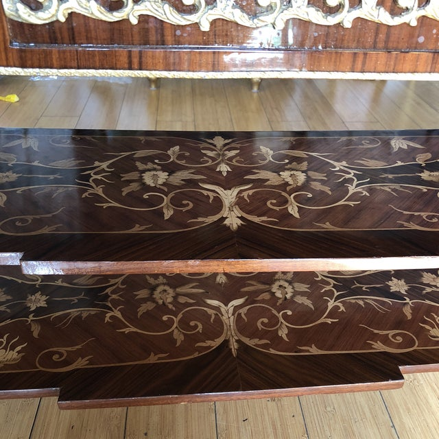 Brass Wooden Inlay Marquetry Petite Console Table With Brass Feet** For Sale - Image 8 of 13