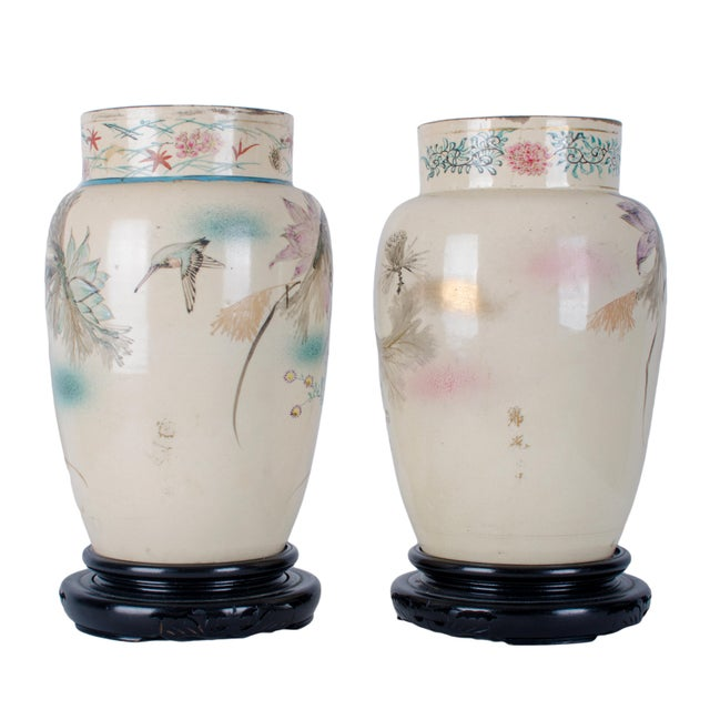 Hand Painted Japanese Vases - a Pair For Sale - Image 4 of 9
