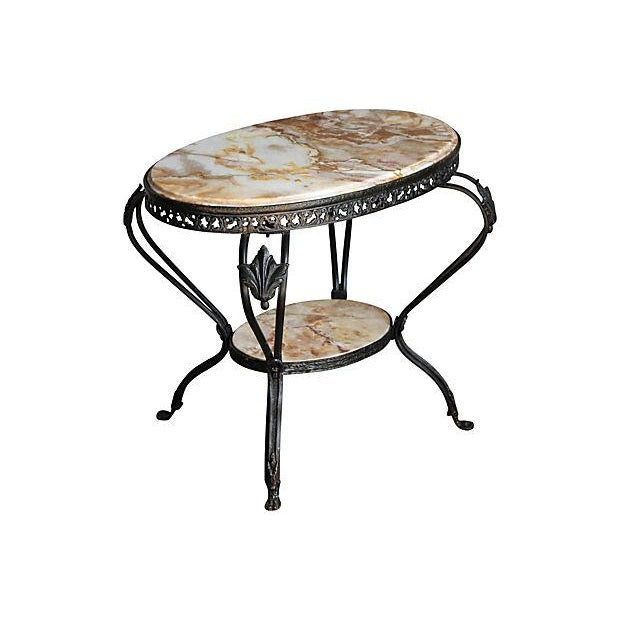 Antique French Bronze & Marble 2 Tier Accent Table - Image 2 of 6