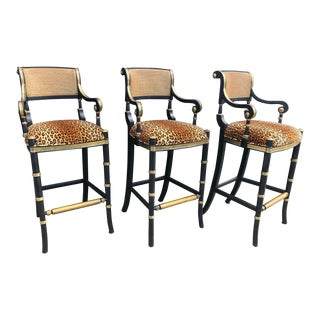 Late 20th Century Vintage Hollywood Regency Leopard Print Carved Wood Cane and Brass Bar Stools - Set of 3 For Sale