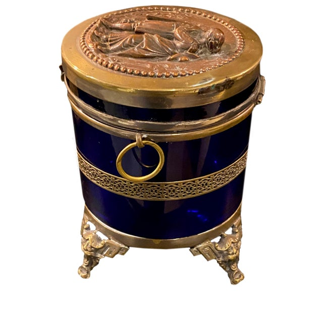 Antique Royal Blue Glass Trinket Box For Sale - Image 4 of 11