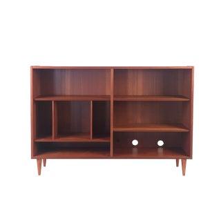 1960s Vintage Low Teak Bookcase For Sale