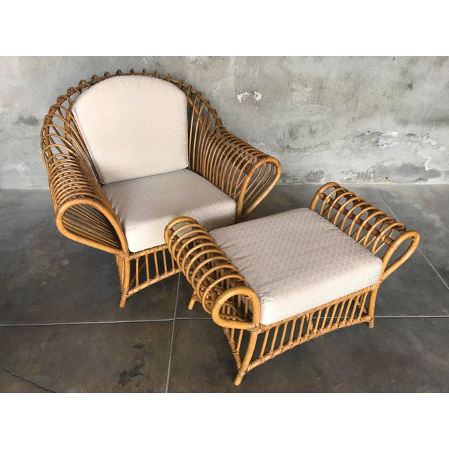 1980s Vintage Rattan Lounge Chair & Ottoman For Sale - Image 13 of 13