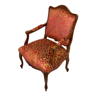 Late 20th Century Vintage Baker French Louis XV Bergere Chair For Sale