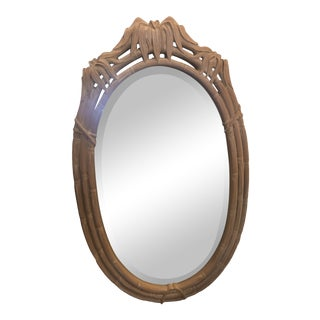 Vintage Faux Bamboo Pagoda Leaf Oval Wall Mirror For Sale