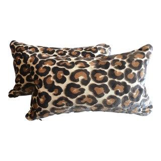 Contemporary Kravet Couture Cut Velvet Leopard Lumbar Pillows - a Pair For Sale