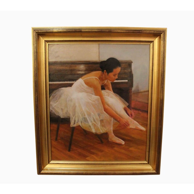 Wu Jian Painting signed - Ballerina oil painting gold leaf frame