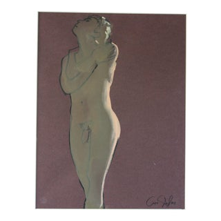 1990s Arno Sternglass Standing Nude Man Watercolor on Toned Paper Painting For Sale