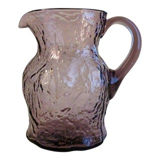 Mid-Century Crinkle Glass Amethyst Pitcher For Sale