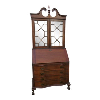 Traditional Mahogany Two Part Secretary Desk Cabinet Cupboard For Sale