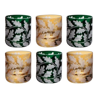 Oak Leaves Votives, Set of 6, Amber and British Racer Green For Sale