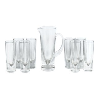 Italian Carlo Moretti Weighted Pitcher & Glasses - Set of 9 For Sale