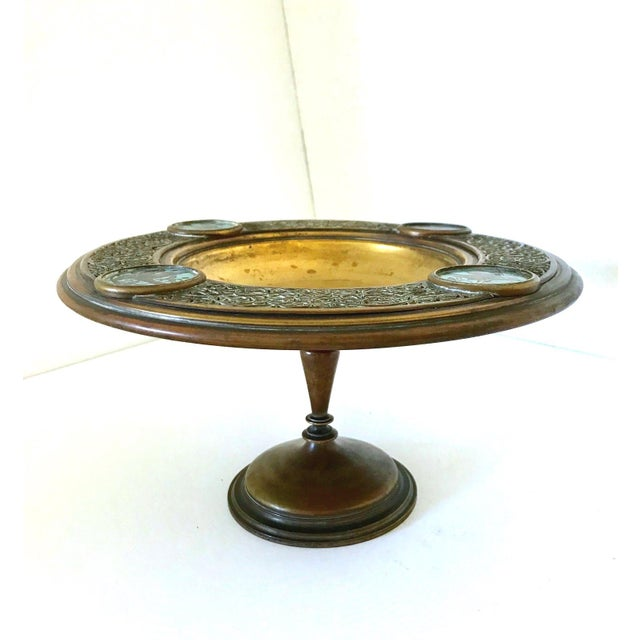 Antique Persian Brass & Enamel Blue Birds Cloisonné Tazza / Centre Piece For Sale In Tampa - Image 6 of 6
