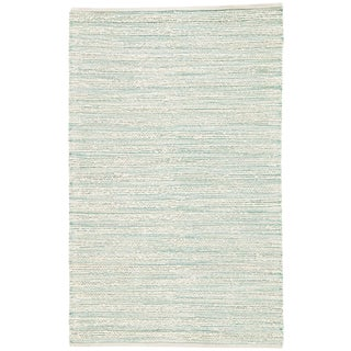 Jaipur Living Canterbury Natural Striped White/ Turquoise Area Rug - 2′6″ × 4′