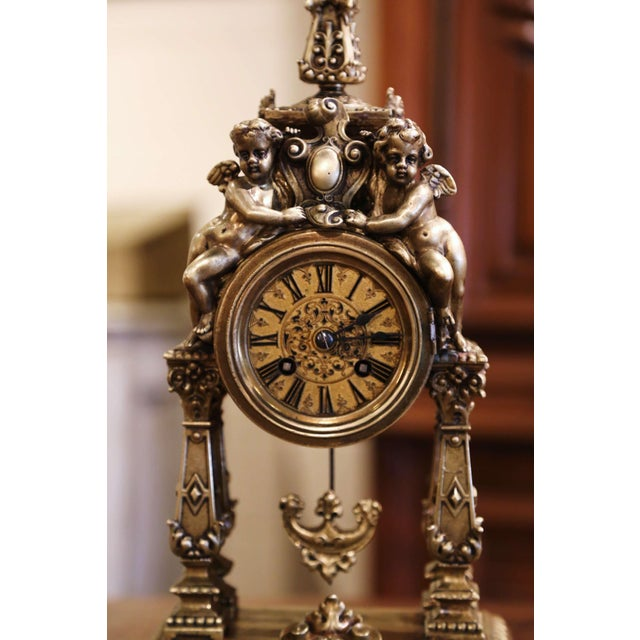 Late 19th Century 19th Century French Louis XV Rococo Gilt Bronze Mantel Clock With Cherubs For Sale - Image 5 of 13