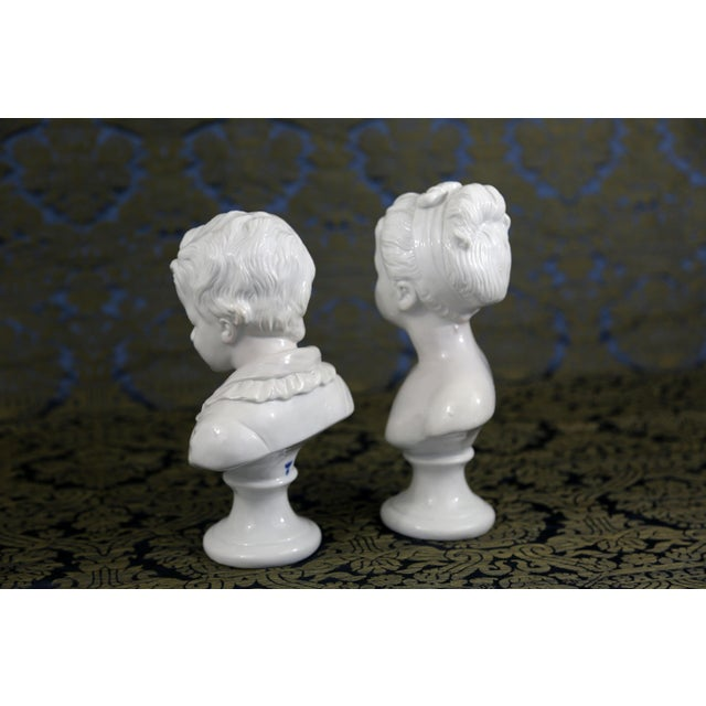 Vintage Porcelain Borghese Boy and Girl Busts by Houdon F. Kessler - a Pair For Sale In Tampa - Image 6 of 10